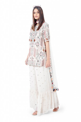 PS-FW770  Qudrat Chalk White Colour Georgette Embroidered Kurta with Mukaish Georgette Sharara and Mukaish Net Dupatta
