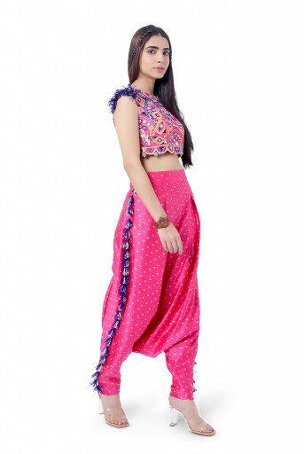 PS-FW771  Rabia Hot Pink Colour Georgette Embroidered Choli with Bandhani Silk Low Crotch Pant