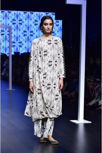 PS-FW462 Raha Khargosh Print Crepe Kurta and Cropped Palazzo Pant