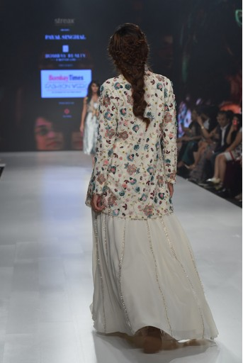 PS-FW642A Rana Chalk White Georgette Jacket with Lehenga