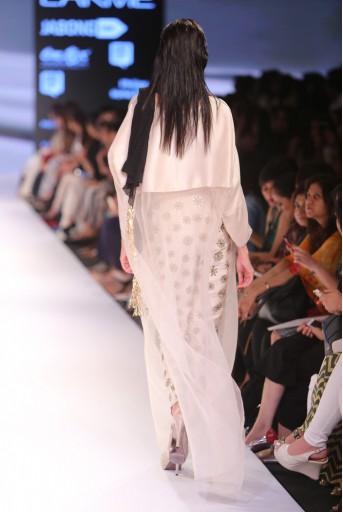 PS-FW353 Raneem Stone Silk and Organza Tunic with Stone Dupion Silk Pant and Black Chiffon Dupatta