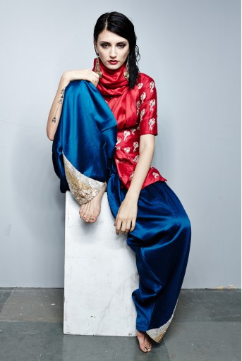 PS-FW281 Rati Cranberry Silkmul Kurta with attached Dupatta and Teal Silkmul Pakistani Salwar
