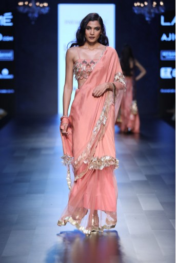 PS-FW432 Raya Coral Silk Bustier with Partial Net and Partialk Silk Saree