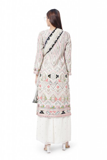 PS-FW773  Rayya Chalk White Colour Georgette Embroidered Kurta with Mukaish Georgette Palazzo and Mukaish Net Dupatta