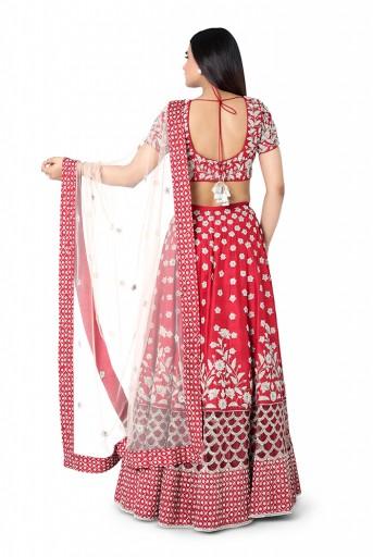 PS-FW418-E  Red Colour Dupion Silk Choli with lehenga and Blush Colour Net Dupatta