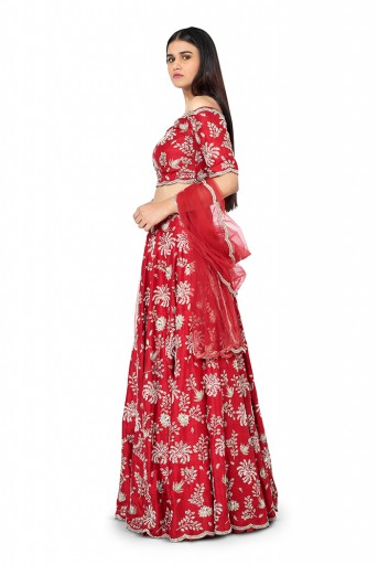 PS-FW419-G-1  Red Colour Dupion Silk Choli with Lehenga and Net Dupatta