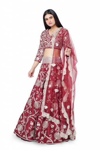 PS-FW393-C-1  Red Colour Dupion Silk Choli with Lehenga and Organza Dupatta