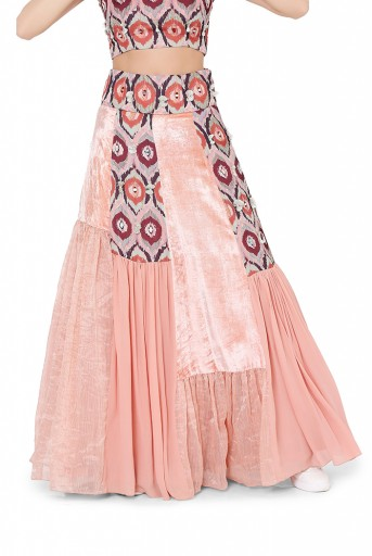 PS-FW828  Red Colour Printed Art Silk Choli with Printed Art Silk and Coral Colour Organza, Chanderi Stripe and Georgette Asymmetric Panelled Skirt