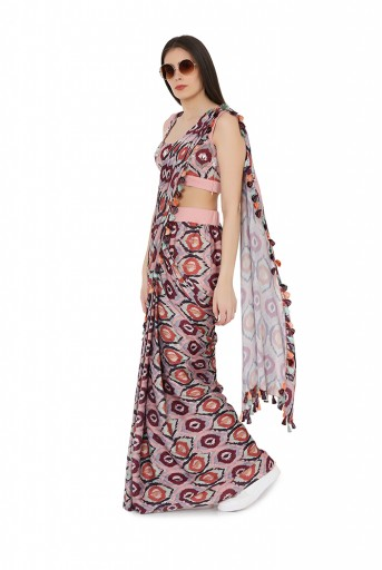 PS-FW816  Red Colour Printed Art Silk Choli with Stitched Saree