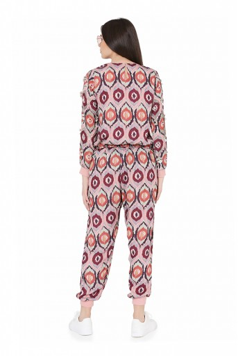 PS-FW813  Red Colour Printed Art Silk Top with Jogger Pant