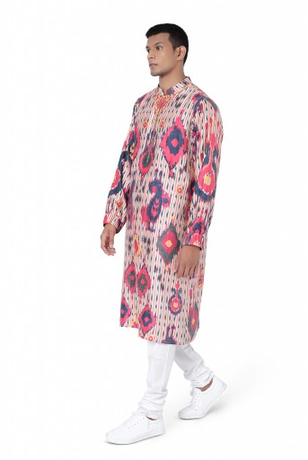 PS-FW741  Red Colour Printed Dupion Silk Bomber Kurta with Off White Colour Cotton Silk Churidar