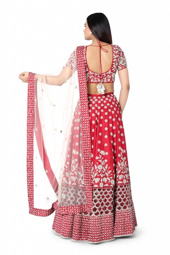 PS-FW418-E-1  Red Colour Dupion Silk Choli with lehenga and Blush Colour Net Dupatta