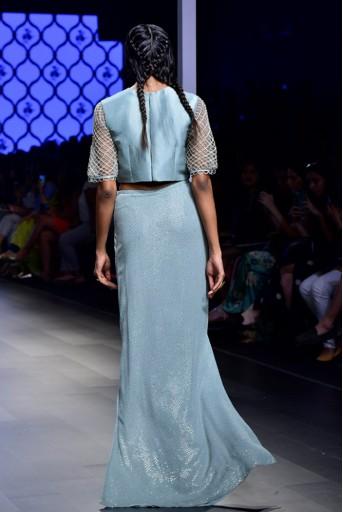 PS-FW474-1  Rehana Powder Blue Silk Choli with Mukaish Georgette Skirt and Soft Net Churidar