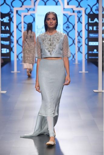 PS-FW474 Rehana Powder Blue Silk Choli with Mukaish Georgette Skirt and Soft Net Churidar