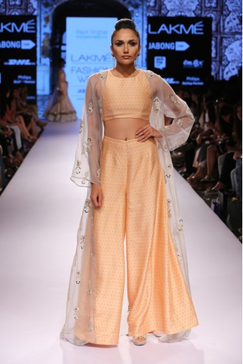 PS-FW318 Rewa Blush and Orange Printed Dupion Silk Crop Top with Palazzo and Organza Jacket