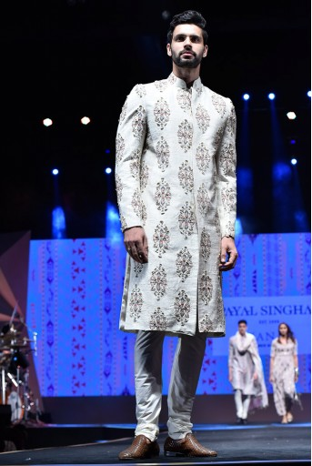 PS-FW622 Reyhan Cream Printed Dupion Silk Sherwani With Off White Cotton Silk Churidar