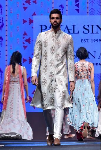 PS-FW622 Reyhan Cream Printed Dupion Silk Sherwani With Off White Cotton Silk Churidar