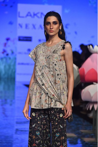 PS-FW706 Reza Khaki Printed Crepe Frill Kurta with Black Printed Crepe Sharara
