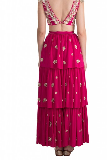 PS-FW593 Riza Hot Pink Crepe Choli with Layered Sharara Pant