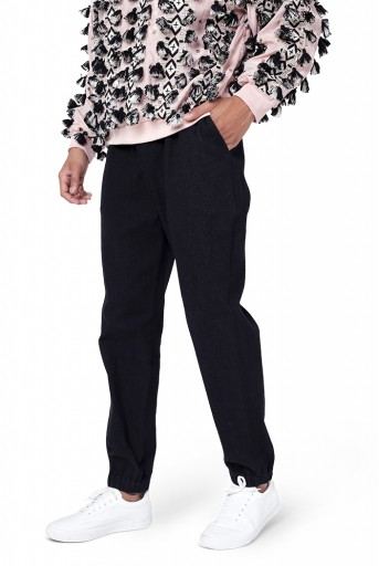 PS-FW769  Rose Pink Colour Georgette Oversized Top with Black Colour Denim Jogger Pant