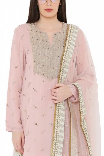PS-KS0008  Rose Pink Colour Mukaish Georgette Kurta with Net Dupatta and Mint Colour Brocade Georgette Salwar