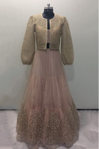 PS-FW478-A-1  Rose pink Colour Net Jacket with Organza Lehenga and Brocade Bustier