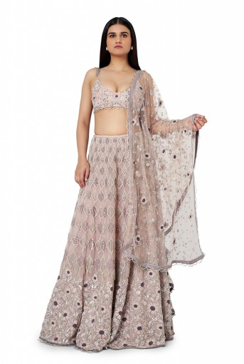PS-ST1331-1  Rose Pink Colour Silk Choli with Organza Lehenga and Net Dupatta