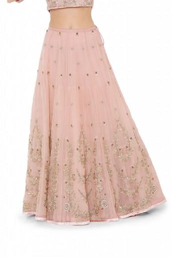 PS-LH0041  Rose Pink Colour Velvet Choli with Organza Lehenga and Mint Colour Net Dupatta