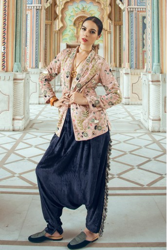 PS-FW600-D  Rose Pink Crepe Jacket with Navy Blue Velvet Low Crotch Pant