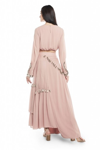 PS-FW655-A  Rose Pink Georgette Balloon Top with Georgette and Organza Panelled Skirt