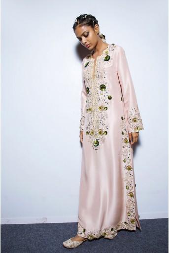 PS-FW567 Roxana Dusky Rose Silk Kaftaan