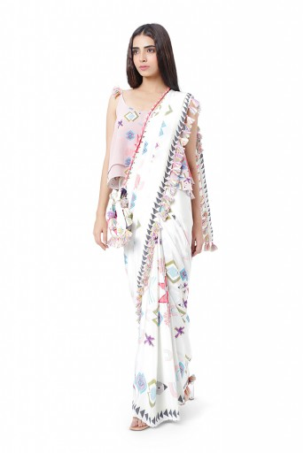 PS-FW777  Ruh Pink Printed Crepe Two Layer Top with White Printed Crepe Saree and Chantone Petticoat