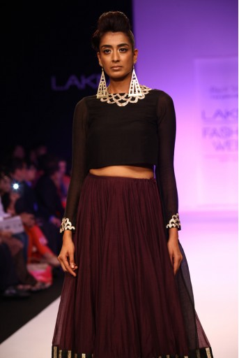 PS-FW205 Rumana Black Silkmul Choli with Purple mul Lehenga
