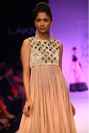 PS-FW211 Ruxana Blush Silkmul Kurta with Gold Jacket and Soft net Churidar