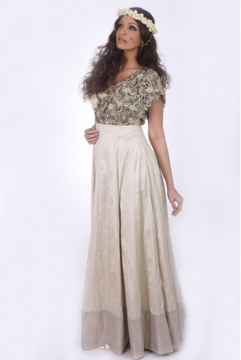 PS-FW133 Saba Champagne Tulle Gown