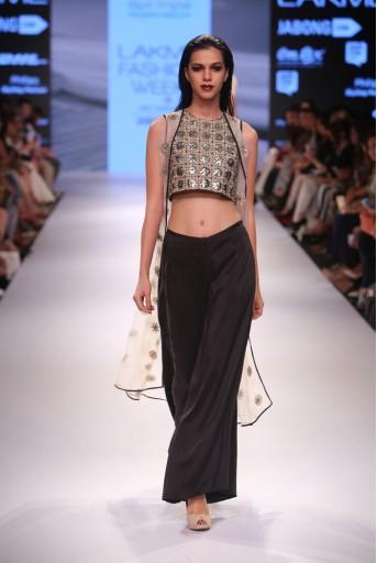 PS-FW351 Sabena Black Silk Choli with Culottes and Stone organza Jacket