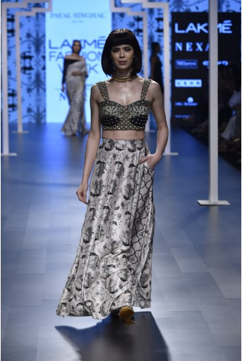 PS-FW467 Sabha Black Silk Bustier with Blush Printed Silk Low Crotch Pant Lehenga