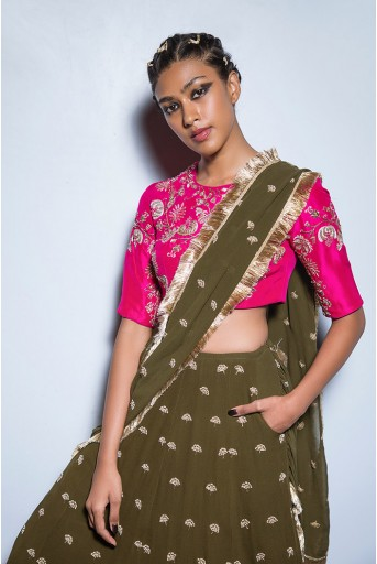 PS-FW557 Sabira Hot Pink Silk Choli with Olive Green Georgette Lehenga and attached Dupatta