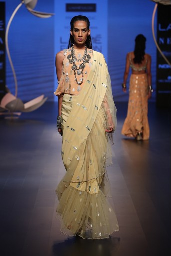 PS-FW503 Sabiya Peach Crepe Top with Pale Yellow Crepe and Net Frill Saree