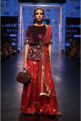 PS-FW558 Saffiya Purple Velvet Kurta with Cranberry Silk Sharara and Organza Dupatta with Waist Belt