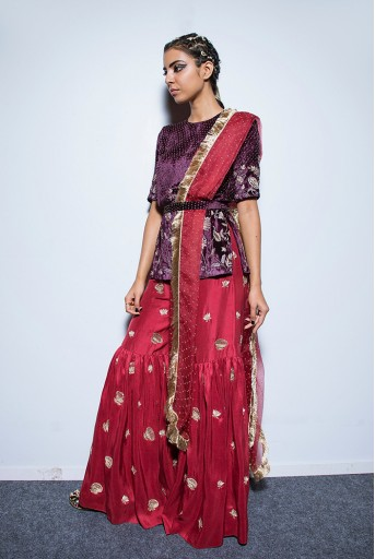 PS-FW558 Saffiya Purple Velvet Kurta with Cranberry Silk Sharara and Organza Dupatta with Waist Belt