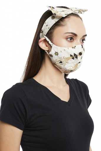 PS-HM0020  Sahara Forest And Dash Print Reversible 3 Ply Mask With Pouch And Hairband Set