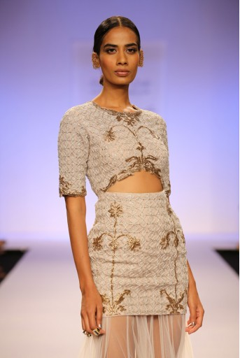 PS-FW255 Sahara Stone Cutout Dress with Tulle skirt with Banarsi Border