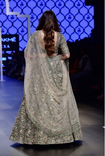 PS-FW500-1  Saira Mint Silk Choli and Lehenga with Blush Tulle Dupatta