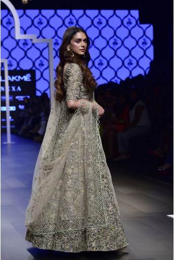 PS-FW500 Saira Mint Silk Choli and Lehenga with Blush Tulle Dupatta