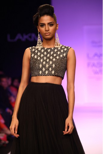 PS-FW209 Samia Black Silkmul Choli with Lehenga