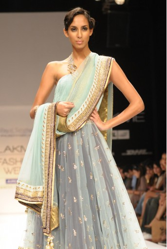 PS-FW114 Sea Blue Mukaish Kalidar and Skirt