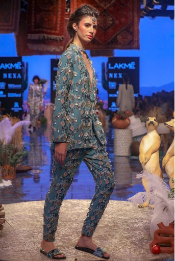 PS-FW644 Selma Blue Printed Georgette Jacket and Pant