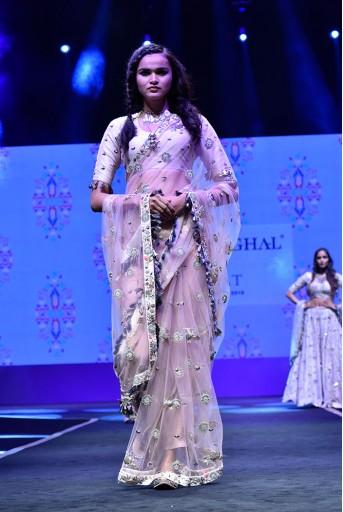 PS-FW608 Semra Stone Silk Choli with Rose Pink Net Saree