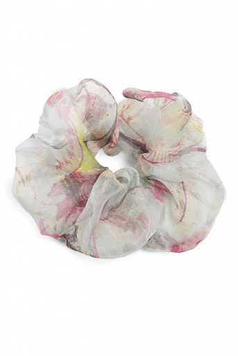 PS-SCR033  Set of 5 Assorted Organza and Silkmul Scrunchies in Signature Prints